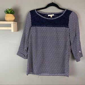 Skies are blue blouse lace detail navy blue sz XS